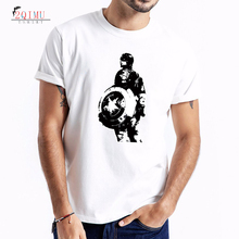 2QIMU 2019 Fashion Summer Cartoon Pattern Short Sleeve T-Shirt Mens Doodle Cotton Tees Cool Clothing Casual O-Neck
