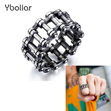 Vintage Silver Stainless Steel Link Motorcycle Biker Chain Boy Rings Punk Rock Mens Biker Jewelry Birthday Gift US Size 7-12 linsion handmade 925 sterling silver mens biker rock punk skull ring ta60 us size 7 15