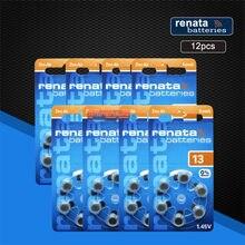 Renata 12 pces/2 bloco maratone mais tamanho a13 13a za13 13 pr48 zinco ar 1.45v aparelho auditivo bateria