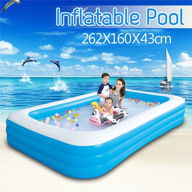 262X160X43cm Large Size Children's Home Use Paddling Pool Inflatable Square Swimming Pool Heat Preservation Kids Inflatable Pool