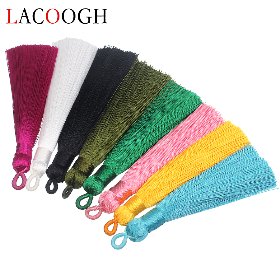 Wholesale 5pcs 8 Color 9cm Long Cotton Silk Tassels Fringes Charms Pendant Brush For Earrings DIY Handmade Jewelry Findings