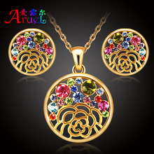 18k gold plated women austrian crystal wedding rhinestone Valentine's day party fashion Cz diamond necklace earings jewelry sets