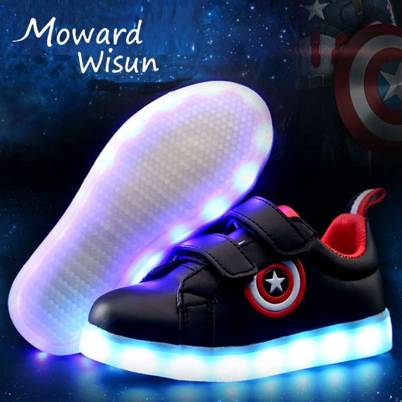 Fashion New! Kids USB LED Light Up Glowing Shoes Basket Boys Girl Luminous Sneakers with Light Soles Trainers LED Slippers 25