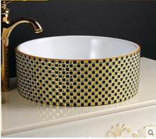 Customize the stage basin Circular art ceramic POTS Rural sink lavatory basin bathroom basin that wash a face lavatory ark combination of pvc bathroom cabinet small family bathroom condole ark wash basin of oak