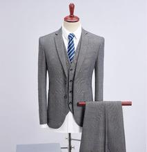 (Jacket+Vest+Pants) 2019 New Style Jacket Men Fashion Suits Mens Slim Fit Business Wedding Suit men Plaid