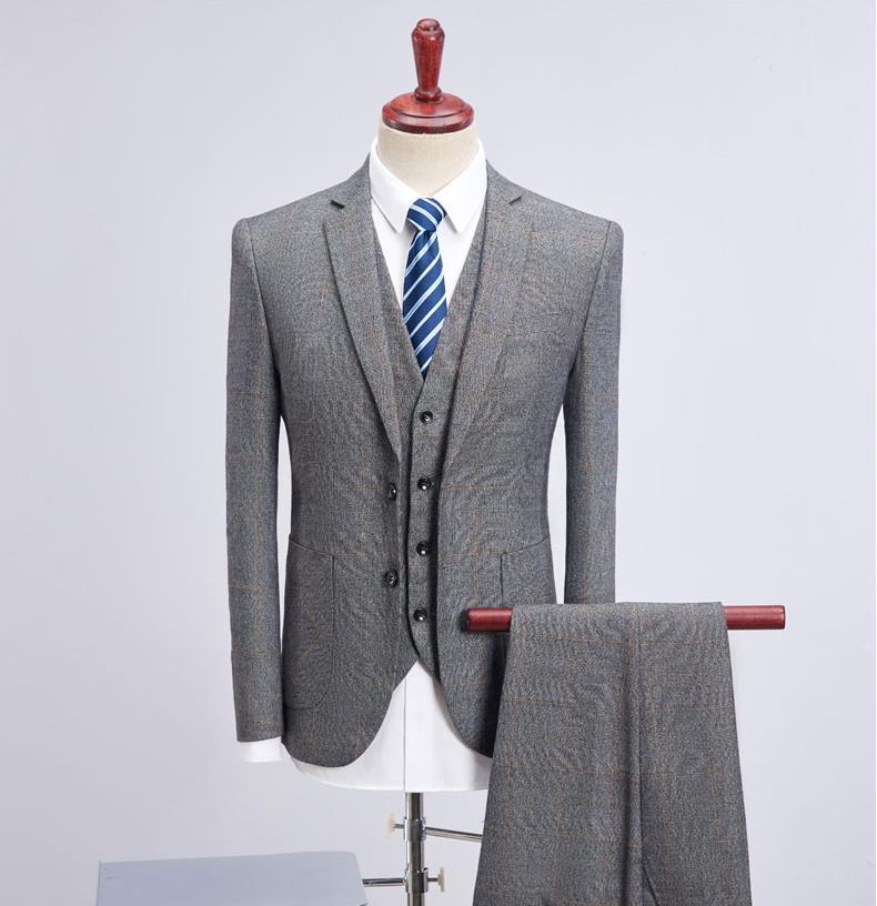 Erkek Kıyafeti'ten T. Elbise'de (Ceket + Yelek + Pantolon) 2019 Yeni Stil Ceket Erkekler Moda Takım Elbise erkek Slim Fit İş Düğün Suit erkekler Düğün Ekose Takım Elbise'da  Grup 1