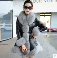 U-SWEAR Winter New Imitation Fox Fur Collar Leather Long Down Feather Cotton Slim Fur Coat Female Faux Fur Coat Plus Size S-6XL(China)