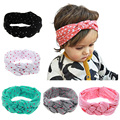 2017 New Cute Baby Headwear Printing Knot Hair Bands Baby Girls Headband Ribbon Elasticity kids Hair Accessories Hair bands KT0