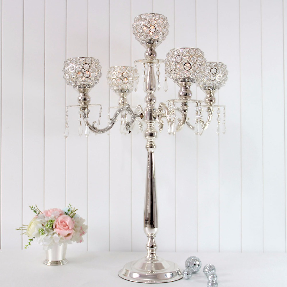 H76cm Crystal Table Centerpiece Bling Silver Wedding Candelabras ...