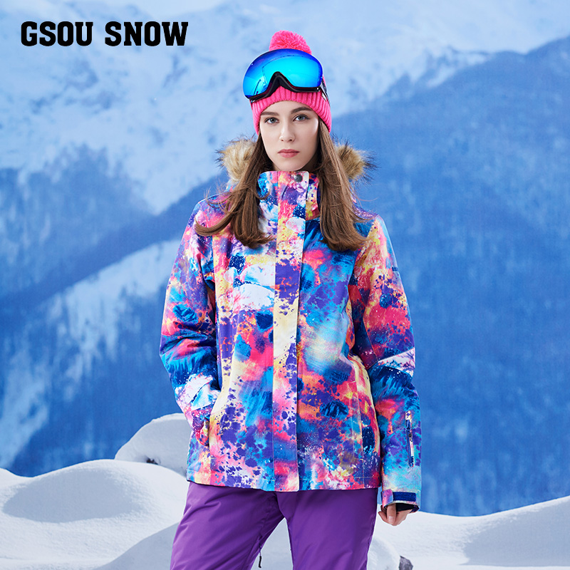 GSOUSNOW new ski suit, women's jacket, ski suit, windproof, warm waterproof, emergency clothing, mountaineering suit, female кольцо коюз топаз кольцо т307017345