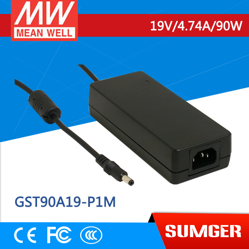 [Sumger2] MEAN WELL original GST90A19-P1M 19V 4.74A meanwell GST90A 19V 90W AC-DC High Reliability Industrial Adaptor 1mean well original gsm160a24 r7b 24v 6 67a meanwell gsm160a 24v 160w ac dc high reliability medical adaptor