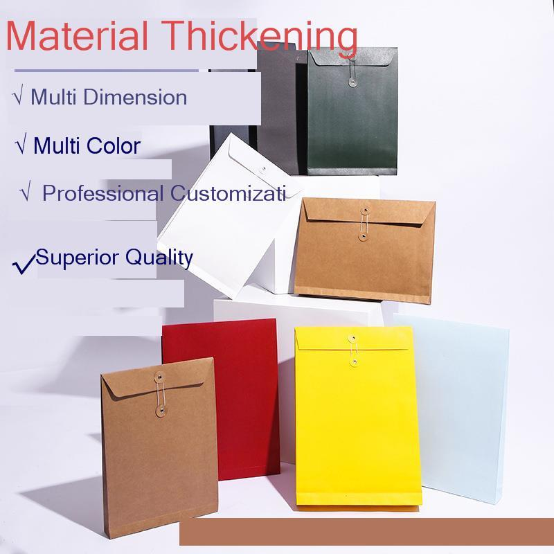 20pcs A4 A5 Kraft Paper Envelope File Organizer Document Bag 200G/250G Garment Storage Bags Multiple Sizes 2 Hole Punch Folders