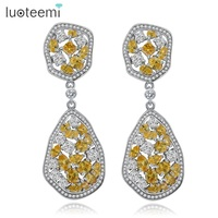 LUOTEEMI Big Teardrop Square CZ Crystal Long Irregular Round Pendant Earrings Boucle D Oreille Party Wedding