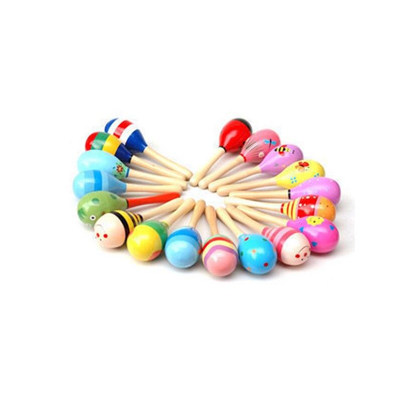 0-3 лет Детские деревянные схватив мяч колокольчик деревянный погремушки Kids Музыкальный вечере ребенок Shaker игрушки