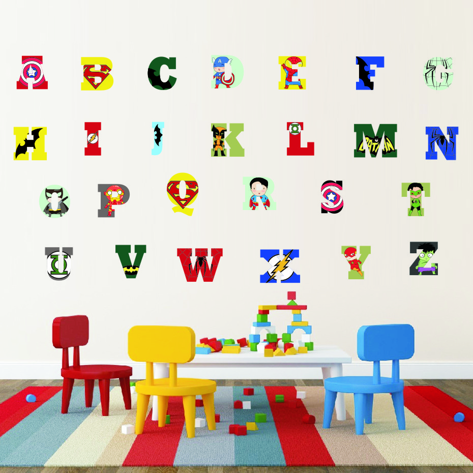 Creative Super Hero Style Alphabet ABC Wall Decal 26 Letters DIY Art Vinyls Stickers Nursery Kids Room Home Decorative Wallpaper