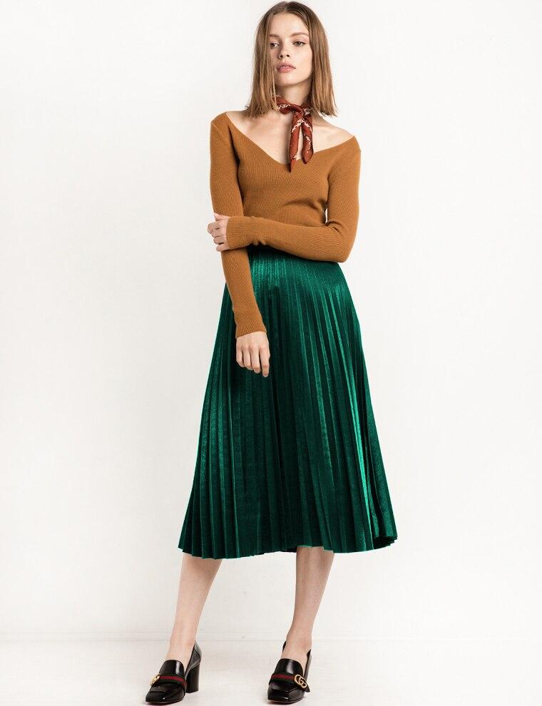 2016 Chic Vintage Woman Highwist Pleated Velvet skirt Slim Maxi skirt - Կանացի հագուստ - Լուսանկար 3