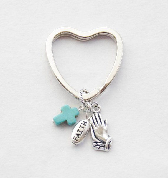 Faith Heart Turquoise Keychain for Confirmation Gift