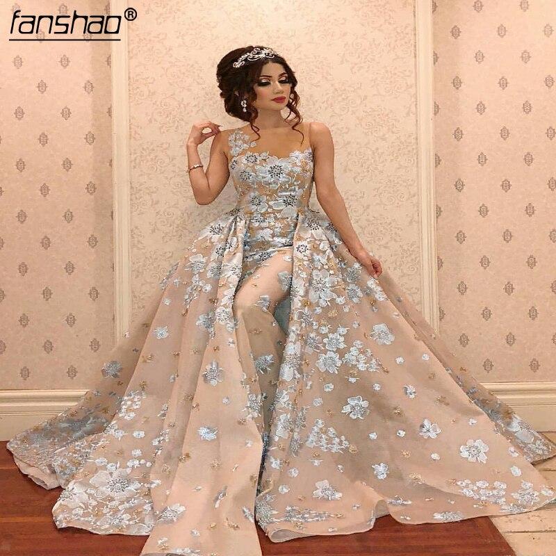 2019 Muslim Lace Evening Dresses A-Line Detachable Beads Flowers Elegant Islamic Dubai Saudi Arabic Long Evening Gown Prom Dress