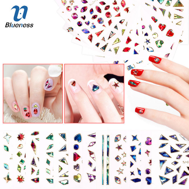 Blueness 1pcs 23designs 3d colorful laser heart round nail art decorations stickers manicure uv gel decals