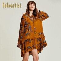 Bohoartist Femmes Robe Patchwork Imprimé floral Ruches Flare Manches V Cou Boho Mini Robe Dames Élégant Pull Robes de Jour