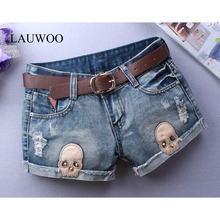 LAUWOO Sexy shorts Woman Skull Jeans Ripped Short Women Novelty Design Summer Blue Shorts Club Denim Jeans Without Belt(China)