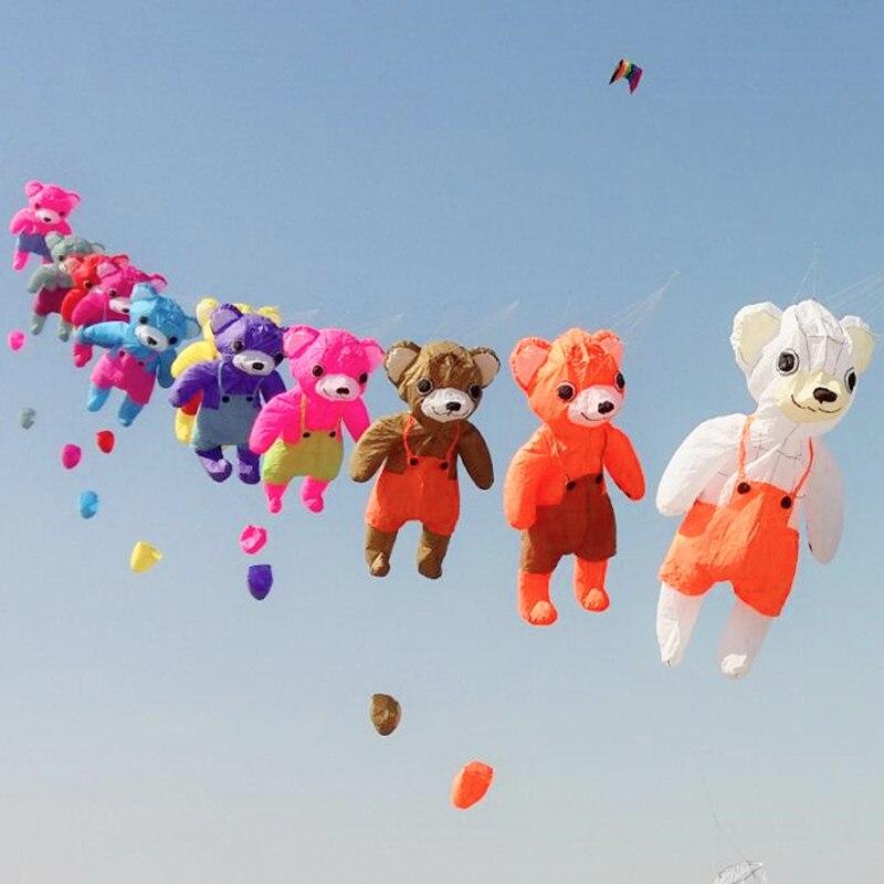 Livraison gratuite cerf-volant gonflable de haute qualité panda ours cerf-volant jouets de plein air dragon géant cerf-volant chaîne bobine cerfs-volants animés buggy