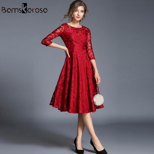 Vestido de encaje hasta la rodilla para mujer rojo azul elegante para  fiesta de noche Vestidos 536d357492cb