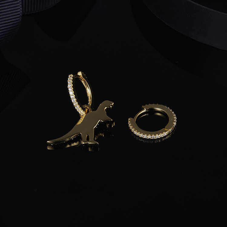 INS-APM במקור עשוי סימטרי זהב וכסף טהור דינוזאור עגילי באירופה ובאמריקה