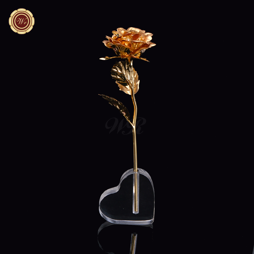 Artificial Flower 24K Gold Plated Rose Flower In Heart Display Stand for Va..