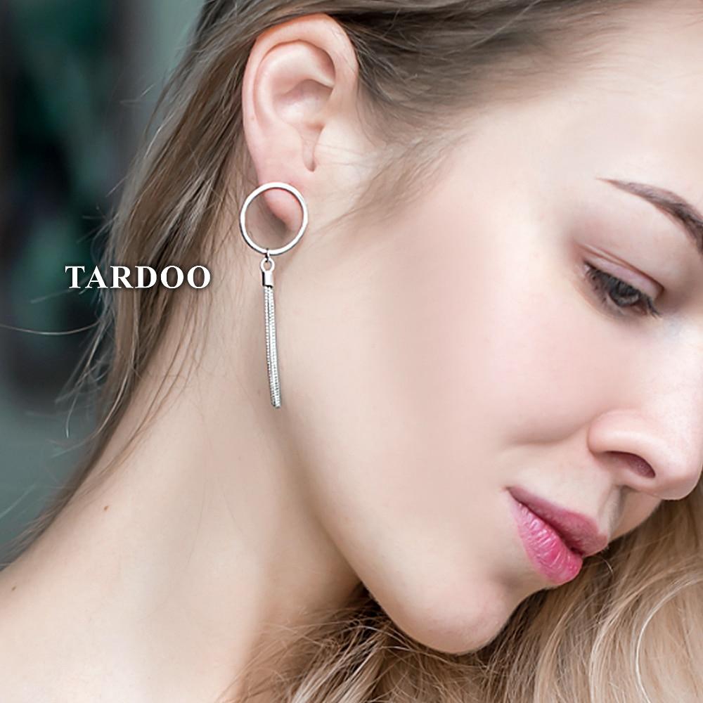 Tardoo Tassel Asymmetry Drop Earrings 925 Sterling Silver Simple Round Earring Stylish Gifts For Women Geometric Fine Jewelry stylish geometric pattern tassel cardigan
