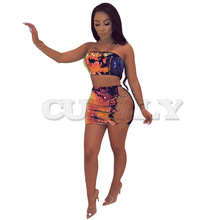 Cuerly 2019 Summer Women Sexy Crop Top And Dress Two Piece Set Bodycon Dresses Off Shoulder Party Club Outfits