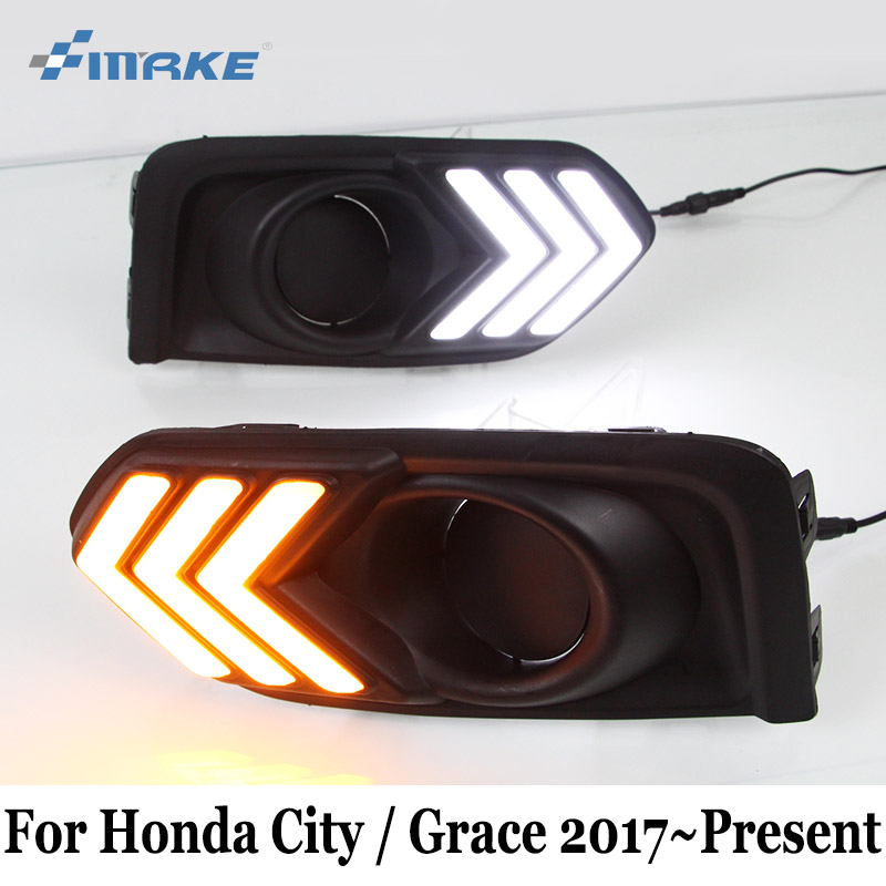 SMRKE DRL For Honda City / Grace 2017~Present / 12V Car Daytime Running Lights & Turn Signal Lamp / Car Styling Fog Light Frame zogaa розовый номер м