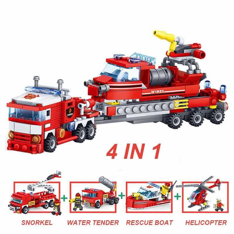 348 قطع النار القتال سيارة هليكوبتر عارض قوارب اللبنات Legoings مدينة رجال الاطفاء أرقام الشاحنات الطوب ألعاب أطفال