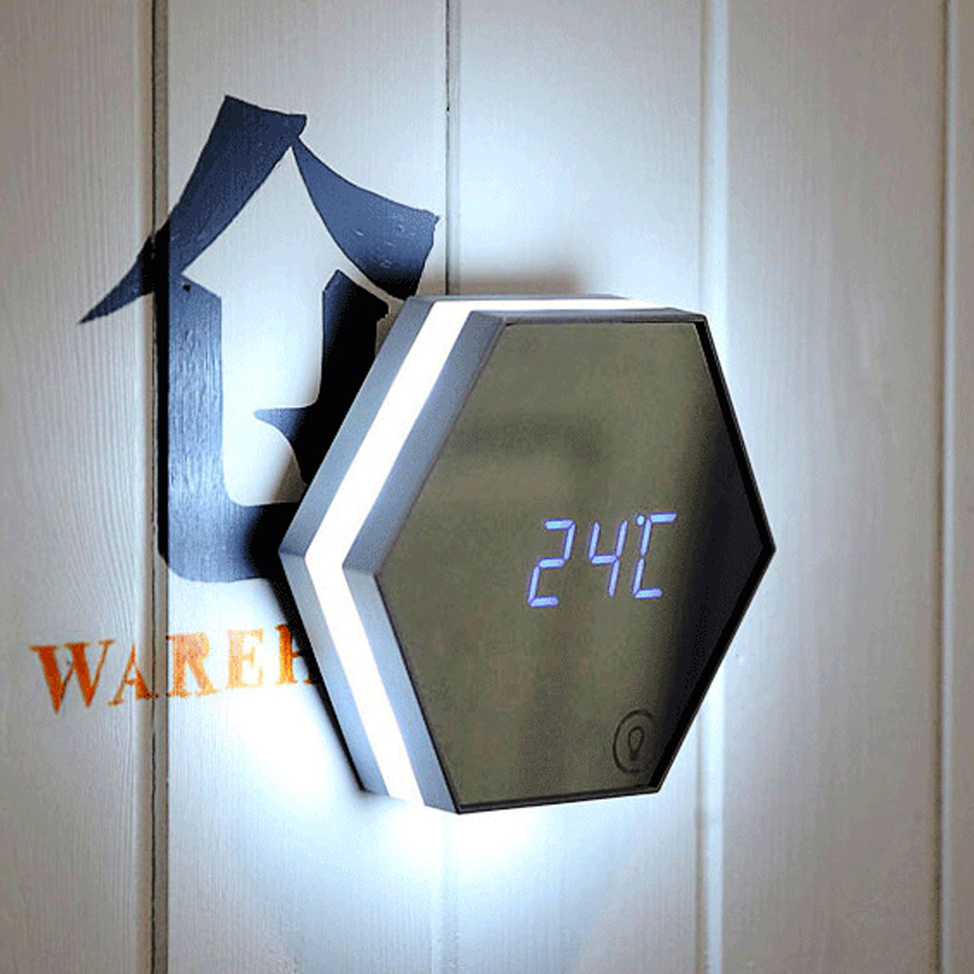 Electronic Multifunction LED Night Light Wall Clock Mirror Digital Display Alarm Clock Snooze Light-emitting Thermometer