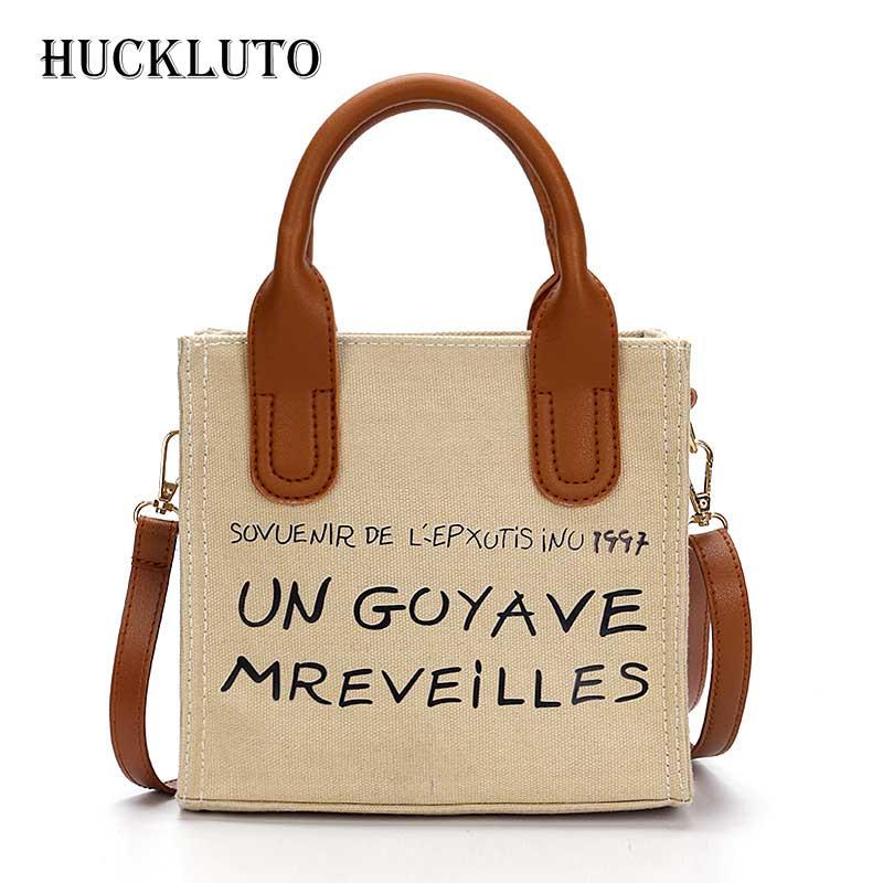 HuckLuto 2019 réduction limitée de temps mode coréenne décontracté lettre Portable petit sac à main toile femmes sac à bandoulière Messenger