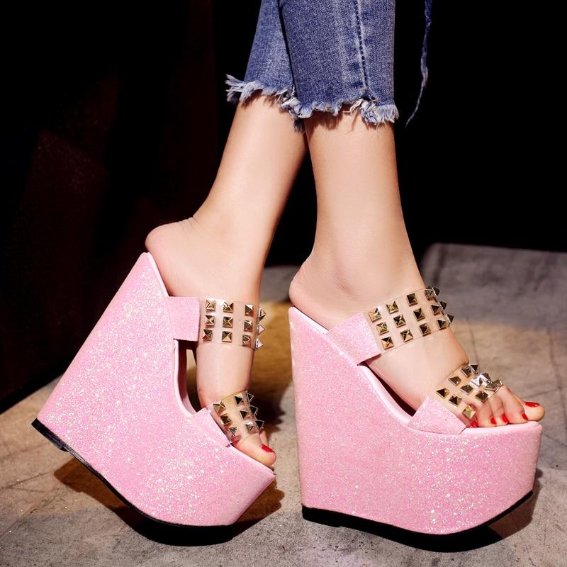 ФОТО Summer Wedges Sandals 2017 Fashion Sexy  Open Toe 17cm  High Heels Rivet Women Slippers Shoes