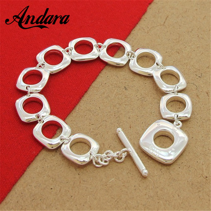 Hot Selling 925 Silver Square Round Cuff Bracelet Bangle Top Quality Fashion Jewelry For Women Men Y012