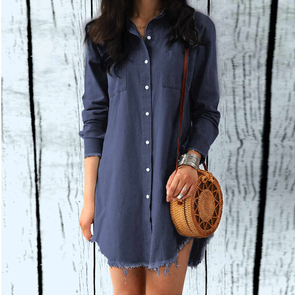 Plus size Fashion Womens Long Sleeve Denim sexy Shirt Dress Female Loose  Pockets Button Up Irregular 55b04727451d