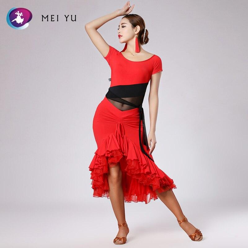 Mei Yu 248 En 191 Latin Dans Kostuum Top En Rok Past Dans Jurk Ballroom Kostuum Turnpakje Vrouwen Lady Avond Party Dress