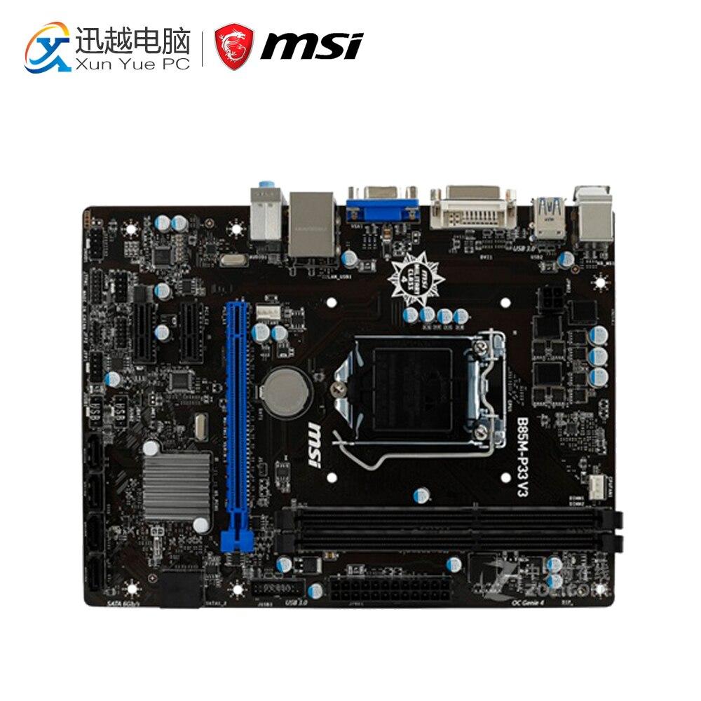 MSI B85M-P33 V3 Desktop Motherboard B85 Socket LGA 1150 i3 i5 i7 DDR3 16G SATA3 USB3.0 Micro-ATX asus ex b85m v desktop motherboard b85 socket lga 1150 i7 i5 i3 ddr3 16g sata3 usb3 0 micro atx