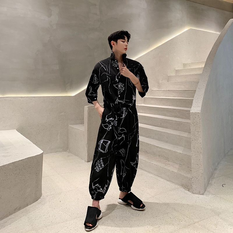 Men Harem Trousers Summer Short Sleeve Loose Casual Shirt Jumpsuits Cross Pants Male Streetwear Hip Hop Fashion Overalls