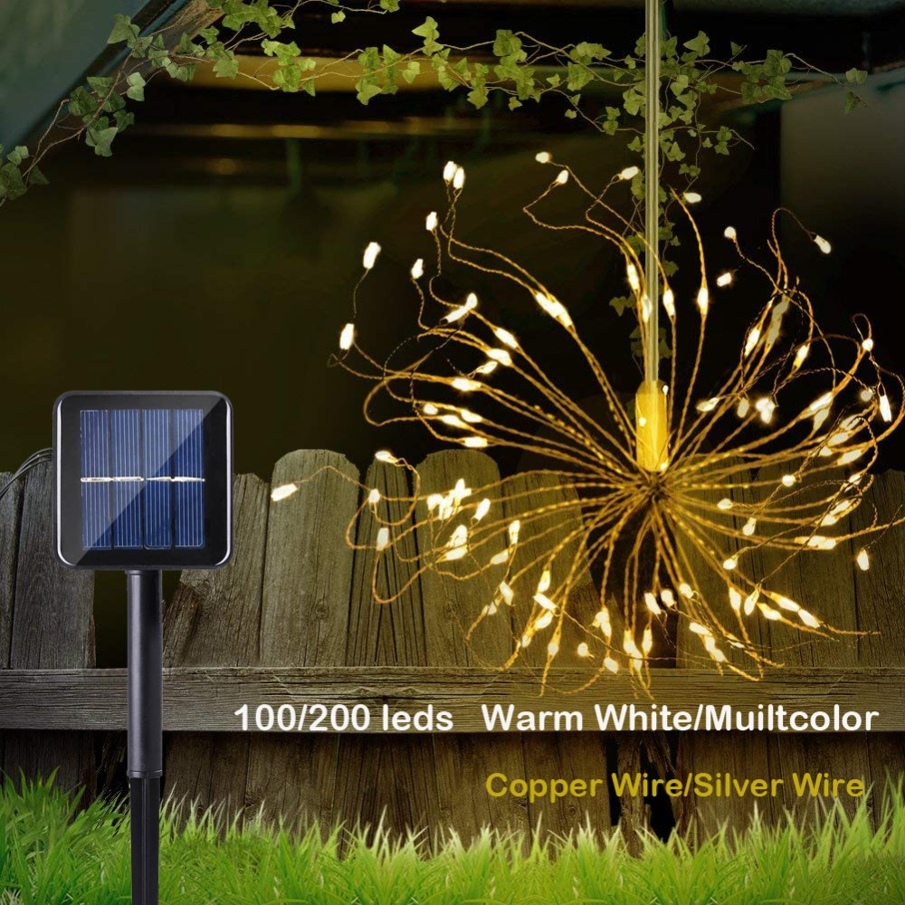 120/200 Led Solar String Lights Starburst Hanging Fairy Lights Waterproof With 8 Modes For Garden Party Wedding Decoration120/200 Led Solar String Lights Starburst Hanging Fairy Lights Waterproof With 8 Modes For Garden Party Wedding Decoration