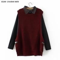 XUANCHURANWEN High Quality Faux Two Piece Sweater Women Fashion Oversize Loose Turn Down Collar Pullovers Crochet