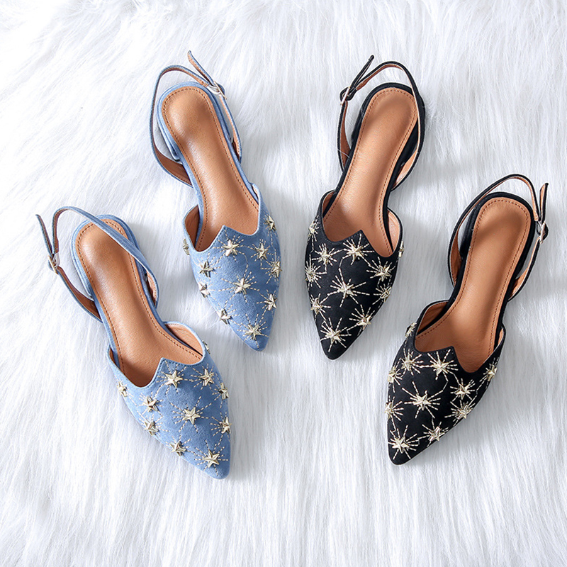 MONMOIRA Star Rivets Flats Shoes for Women Pointed Toe Vintage Slingbacks  Buckle Strap Flats Mules Shoes