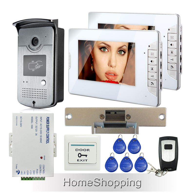 FREE SHIPPING 7 Video Intercom Door Phone System 2 White Monitors RFID Doorbell Camera Strike Lock + Remote In Stock Wholesale free shipping brand new home 7 inch video intercom door phone system 2 monitors rfid camera long 250mm strike lock in stock