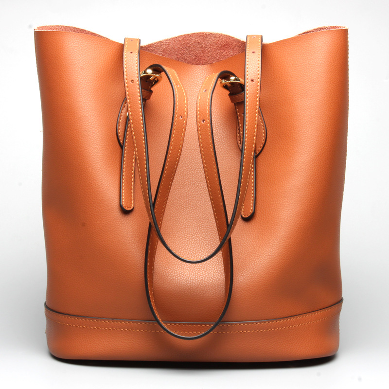 Women's Bag Genuine Leather Bucket Bags Ladies Shoulder Casual Handbag