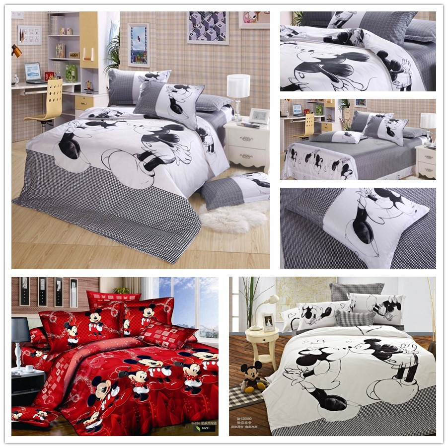 Aliexpress.com : Buy cute red black mickey minnie mouse bedding ...