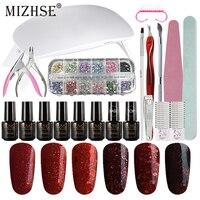 MIZHSE Gel Polish Set Primer Top Coat Soak Off Manicure Set For Nail Art Kit Gel Varnish Nail Polish 6W UV Lamp Dryer Tools