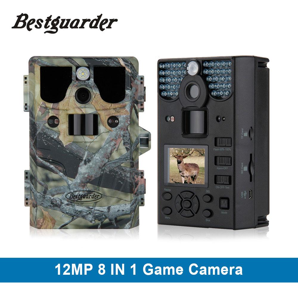 12MP 75 pies 8 en 1 HD COLOR COMPLETO Cámara de caza Animales internos de voz WIFI Soporte TF Tarjeta de juego Tarjeta SD Trail para sangre fría