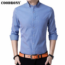 COODRONY Men Shirt Autumn Fashion Striped Business Casual Shirts With Pocket Long Sleeve Cotton Shirt Men Camisa Masculina 96034 striped long shirt with chest pocket